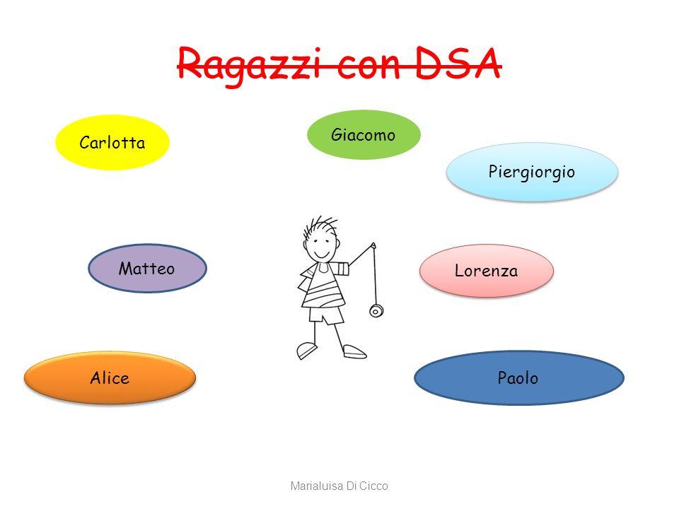 Ragazzi con DSA Giacomo Carlotta Piergiorgio Matteo Lorenza Alice