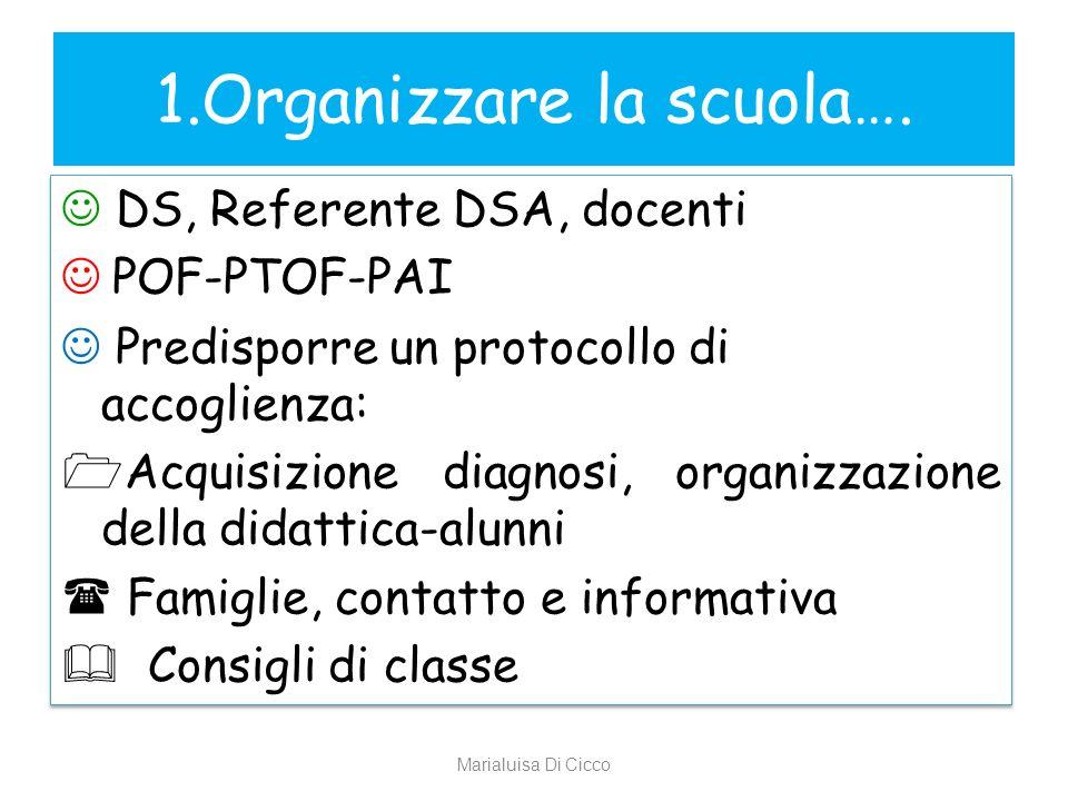 1.Organizzare la scuola….
