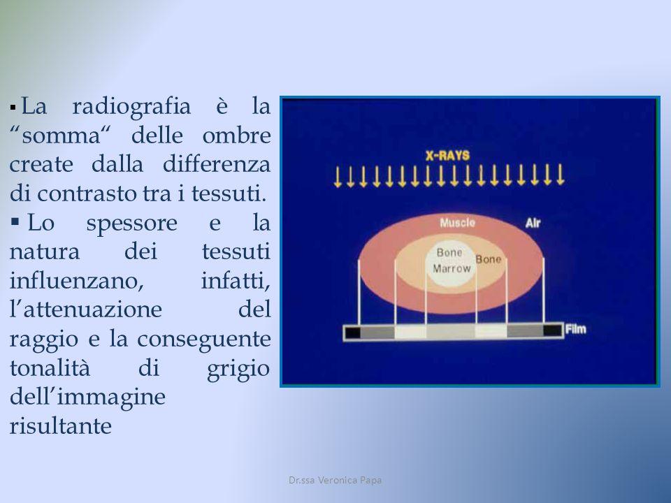 La radiografia è la somma delle ombre create dalla differenza di contrasto tra i tessuti.