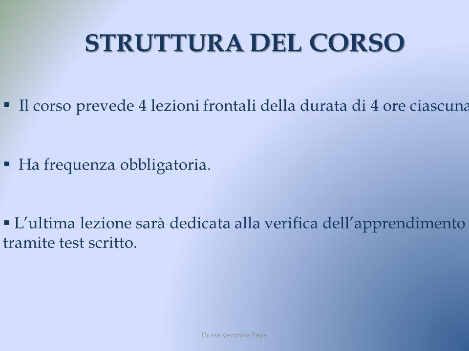 STRUTTURA DEL CORSO Il corso prevede 4 lezioni frontali della durata di 4 ore ciascuna. Ha frequenza obbligatoria.