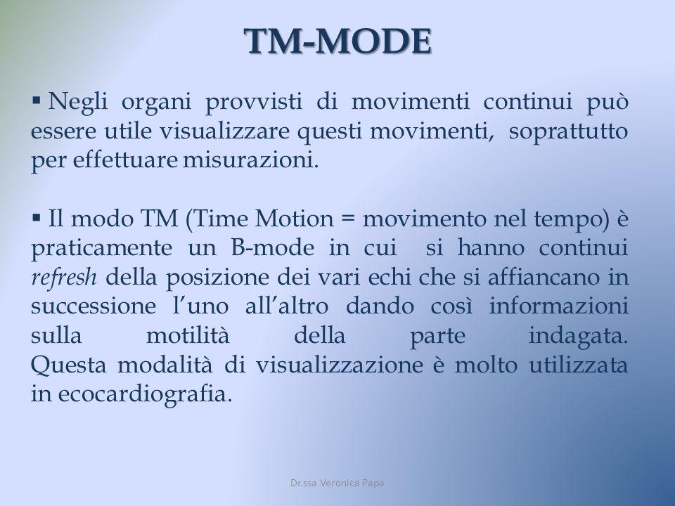 TM-MODE Negli organi provvisti di movimenti continui può essere utile visualizzare questi movimenti, soprattutto per effettuare misurazioni.