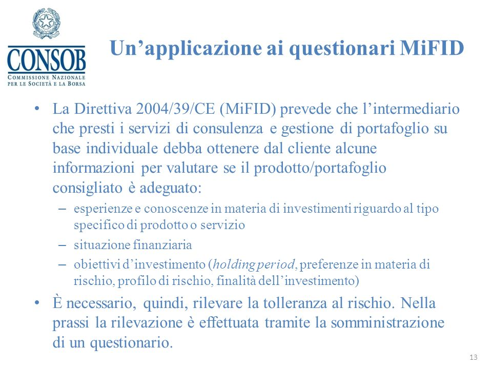 Un'applicazione ai questionari MiFID