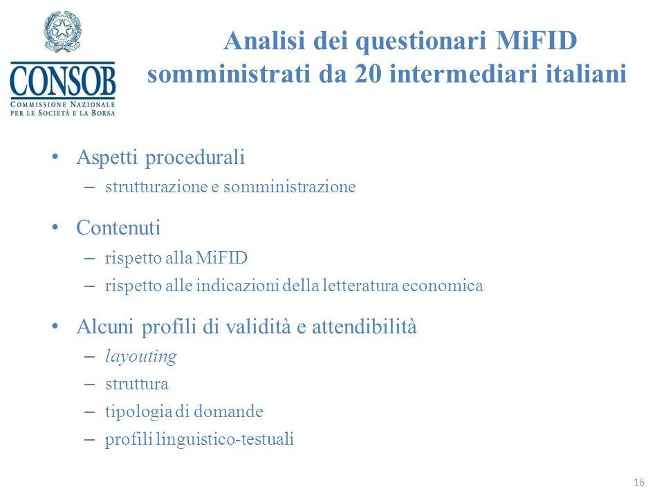 Analisi dei questionari MiFID somministrati da 20 intermediari italiani