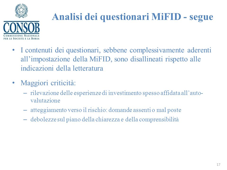 Analisi dei questionari MiFID - segue
