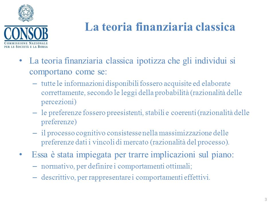 La teoria finanziaria classica