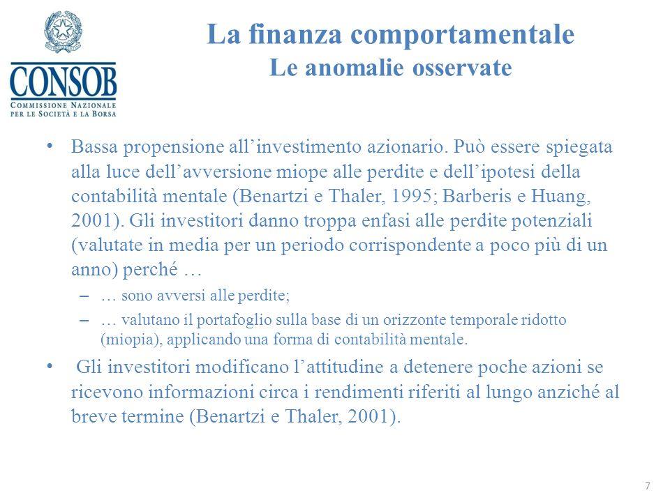 La finanza comportamentale Le anomalie osservate