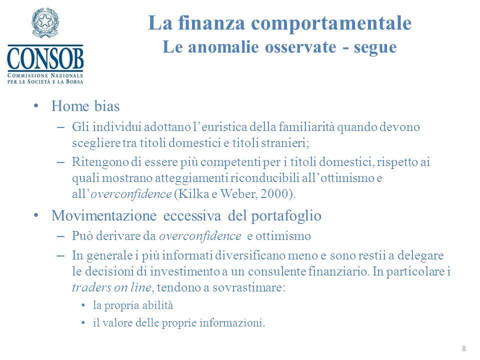 La finanza comportamentale Le anomalie osservate - segue