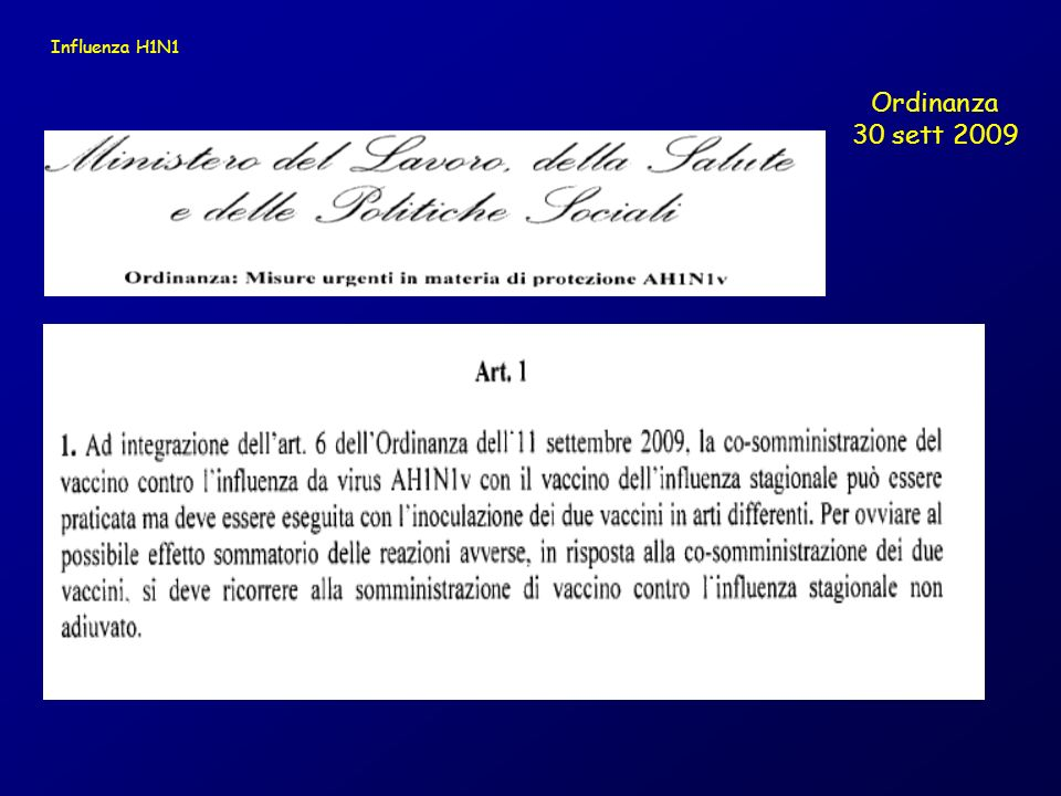 Influenza H1N1 Ordinanza 30 sett 2009