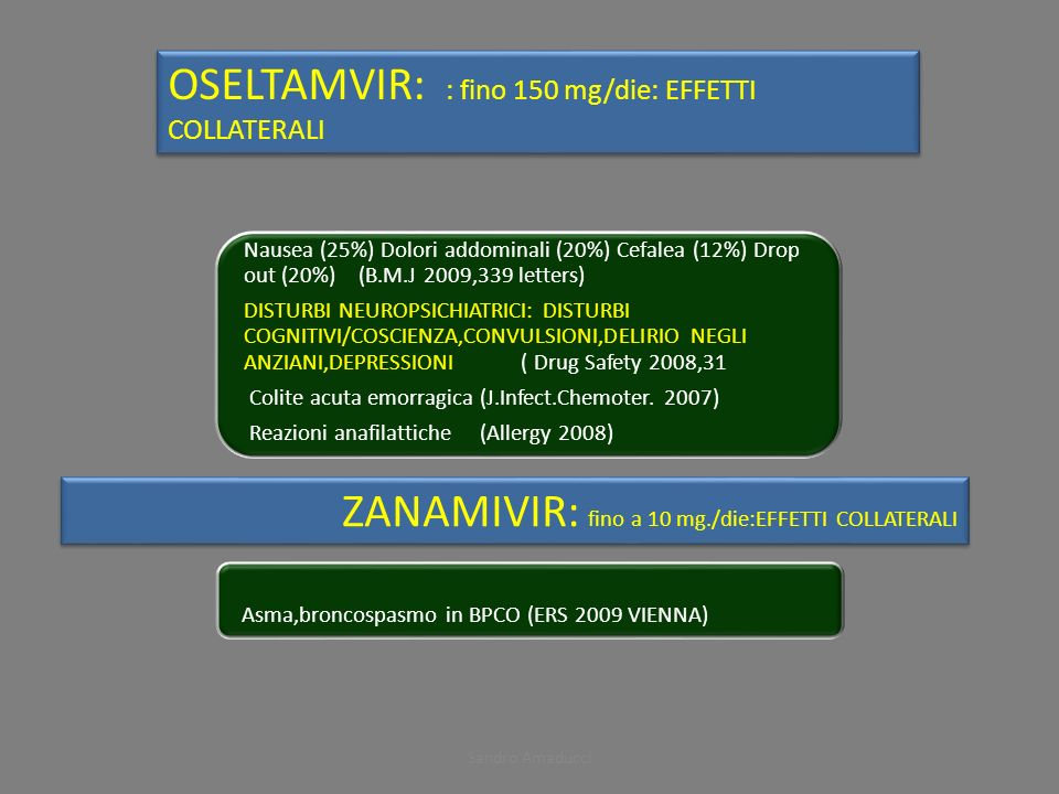 OSELTAMVIR: : fino 150 mg/die: EFFETTI COLLATERALI