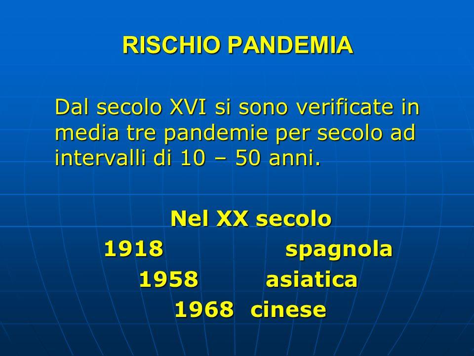 RISCHIO PANDEMIA Dal secolo XVI si sono verificate in media tre pandemie per secolo ad intervalli di 10 – 50 anni.