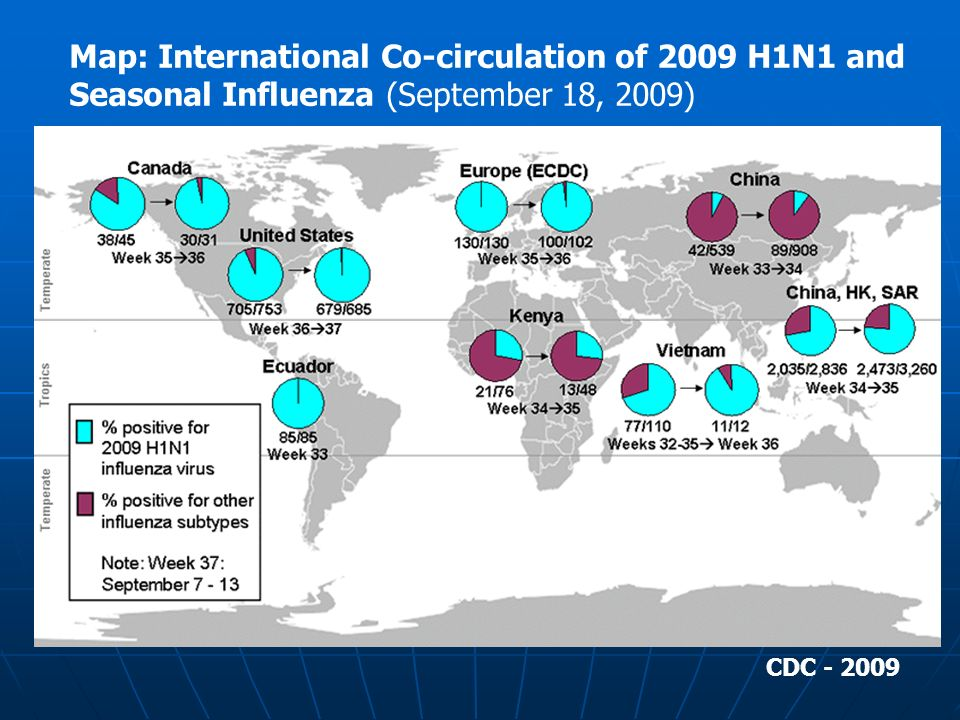 Map: International Co-circulation of 2009 H1N1 and Seasonal Influenza (September 18, 2009)