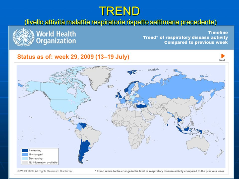 TREND (livello attività malattie respiratorie rispetto settimana precedente)
