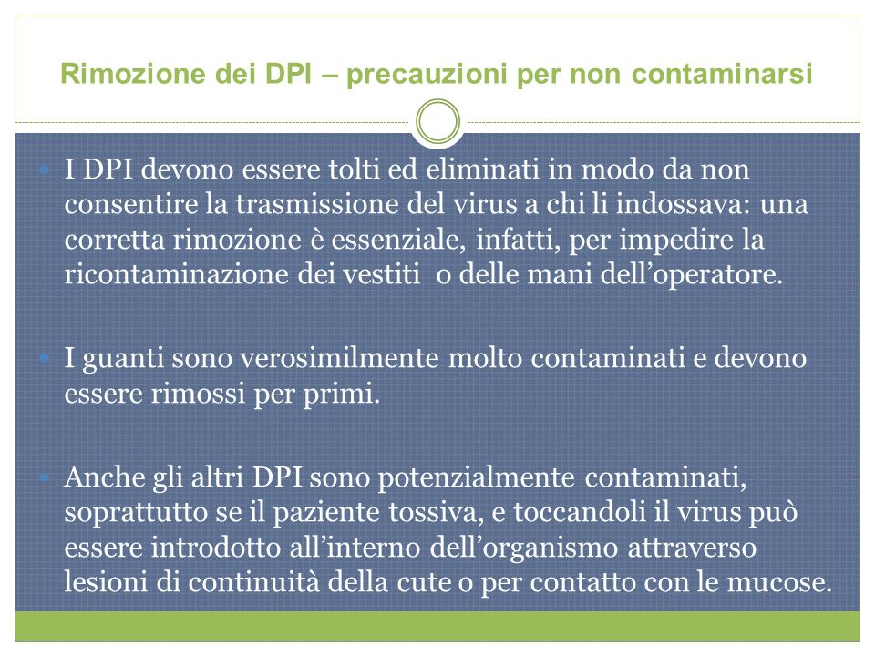 Rimozione dei DPI – precauzioni per non contaminarsi