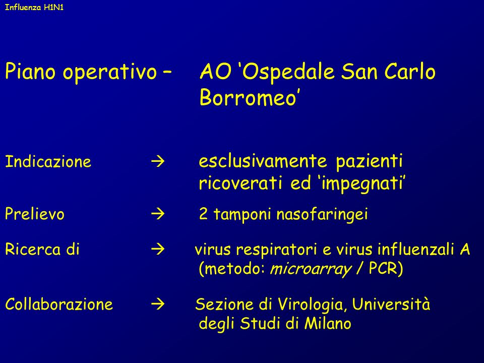 Piano operativo – AO 'Ospedale San Carlo Borromeo'