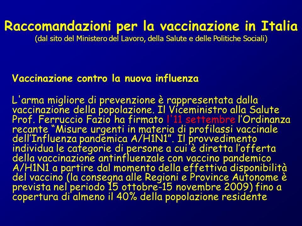 Raccomandazioni per la vaccinazione in Italia