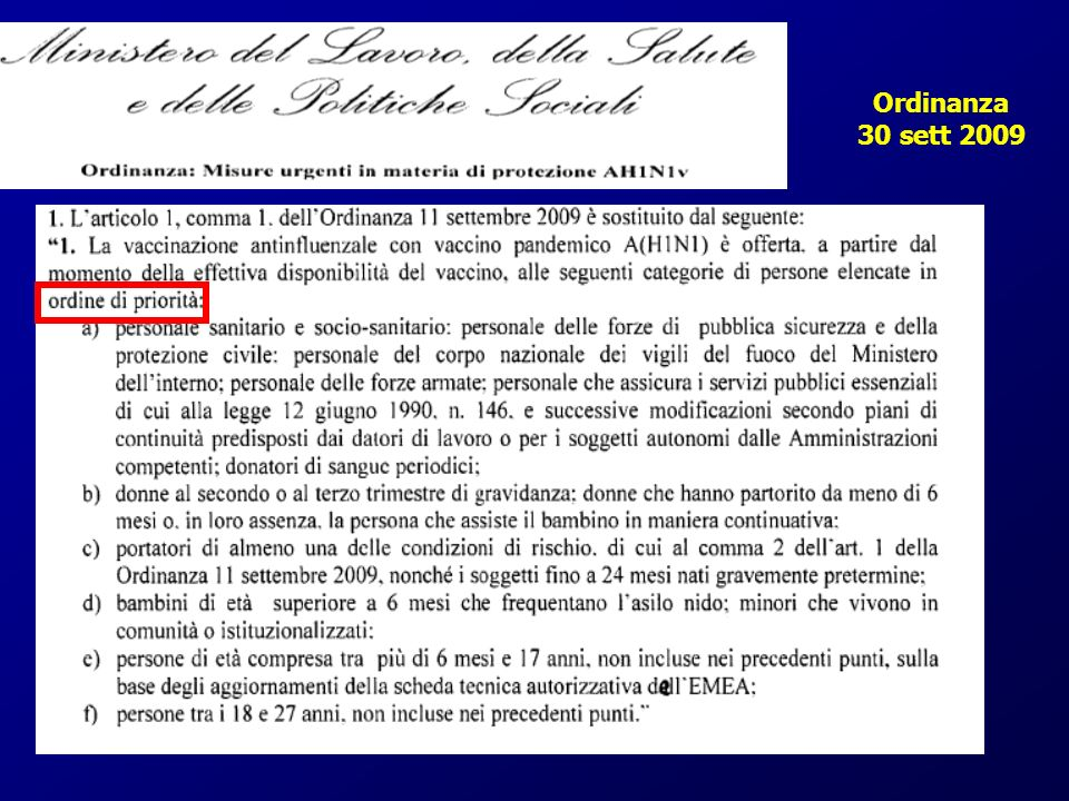 Ordinanza 30 sett 2009