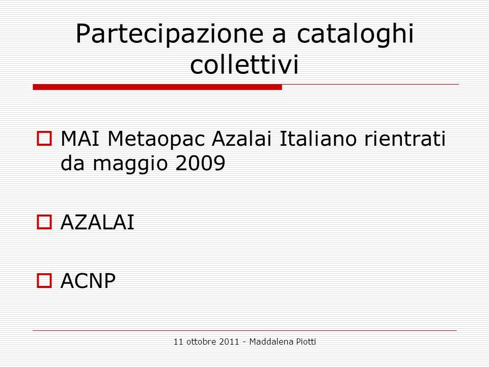 Partecipazione a cataloghi collettivi