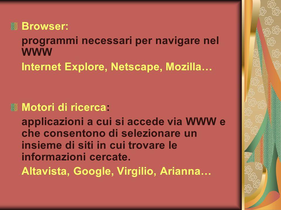 Browser: programmi necessari per navigare nel WWW. Internet Explore, Netscape, Mozilla… Motori di ricerca: