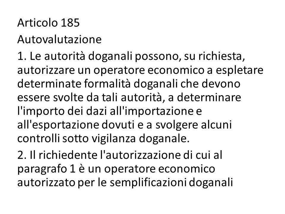 Articolo 185 Autovalutazione 1