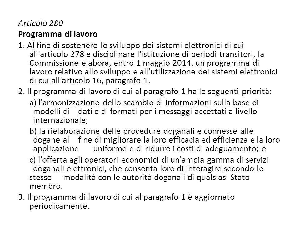 Articolo 280 Programma di lavoro.
