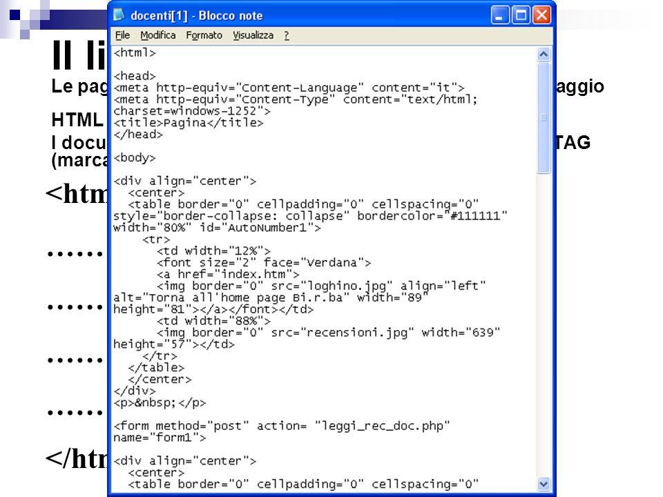 Il linguaggio HTML Le pagine web sono file di testo scritte utilizzando il linguaggio HTML. I documenti HTML vanno racchiusi dentro una coppia di TAG (marcatori): apertura e chiusura.