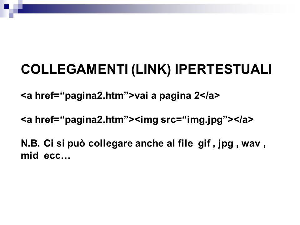 COLLEGAMENTI (LINK) IPERTESTUALI <a href= pagina2