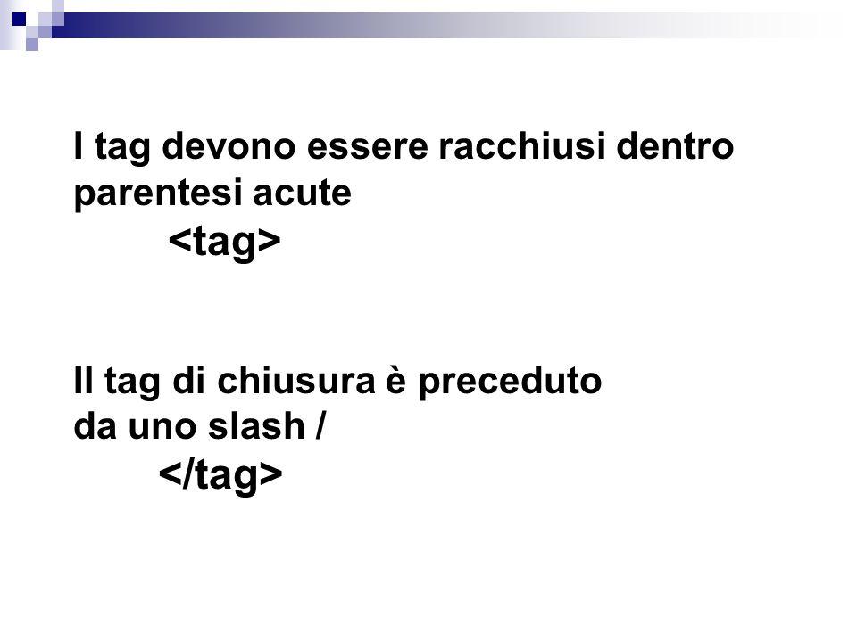 I tag devono essere racchiusi dentro parentesi acute <tag> Il tag di chiusura è preceduto da uno slash / </tag>