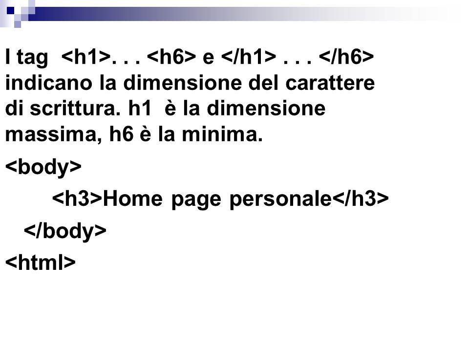<h3>Home page personale</h3> </body> <html>
