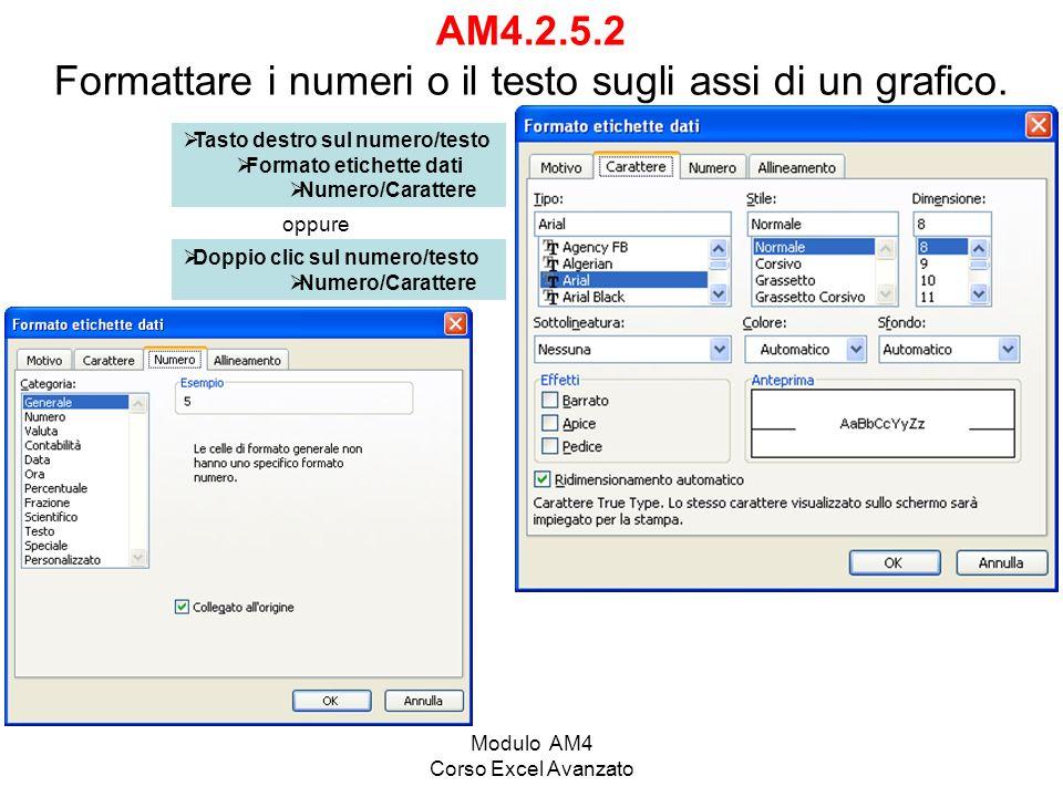 AM4.2.5.2 Formattare i numeri o il testo sugli assi di un grafico.