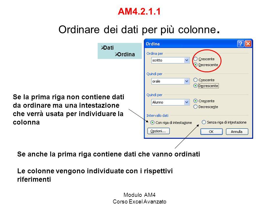 AM4.2.1.1 Ordinare dei dati per più colonne.