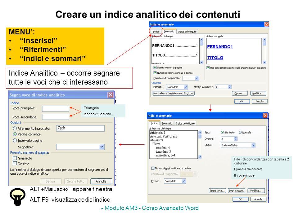 Creare un indice analitico dei contenuti