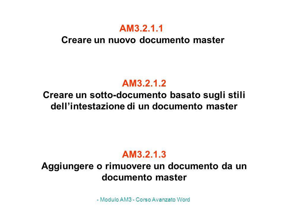 AM3.2.1.1 Creare un nuovo documento master
