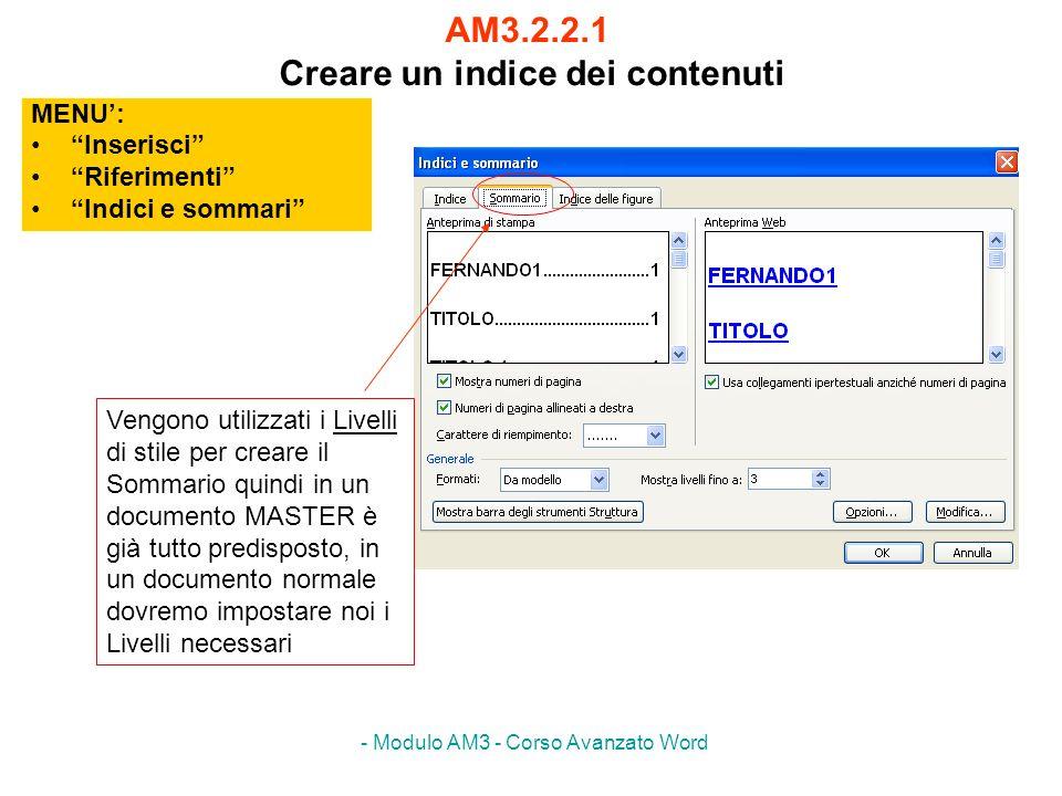 AM3.2.2.1 Creare un indice dei contenuti