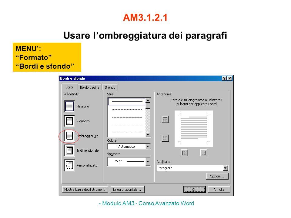 AM3.1.2.1 Usare l'ombreggiatura dei paragrafi