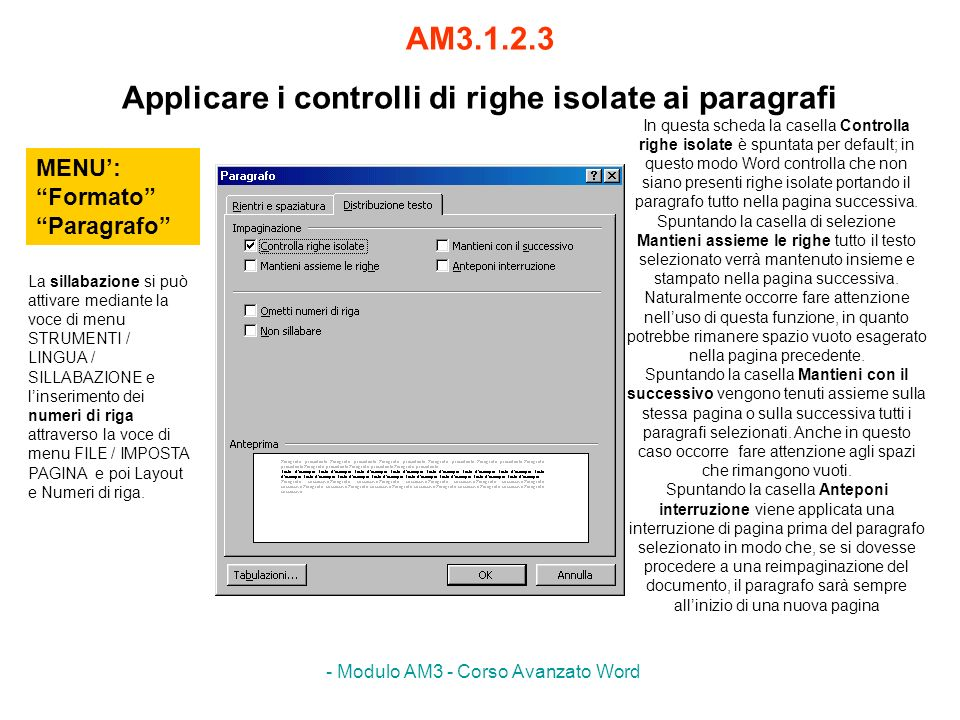 AM3.1.2.3 Applicare i controlli di righe isolate ai paragrafi