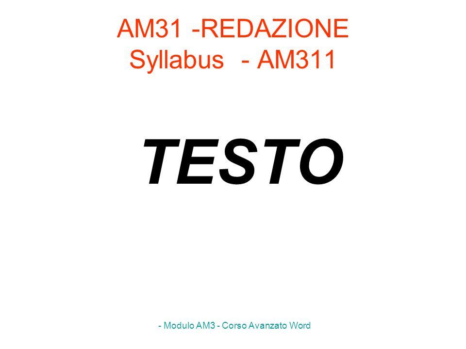 AM31 -REDAZIONE Syllabus - AM311