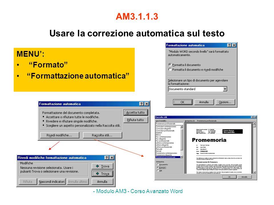 AM3.1.1.3 Usare la correzione automatica sul testo