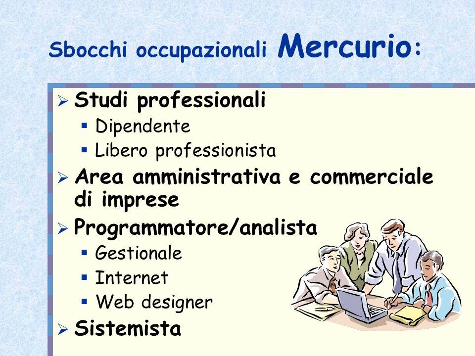 Sbocchi occupazionali Mercurio: