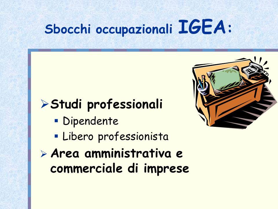 Sbocchi occupazionali IGEA: