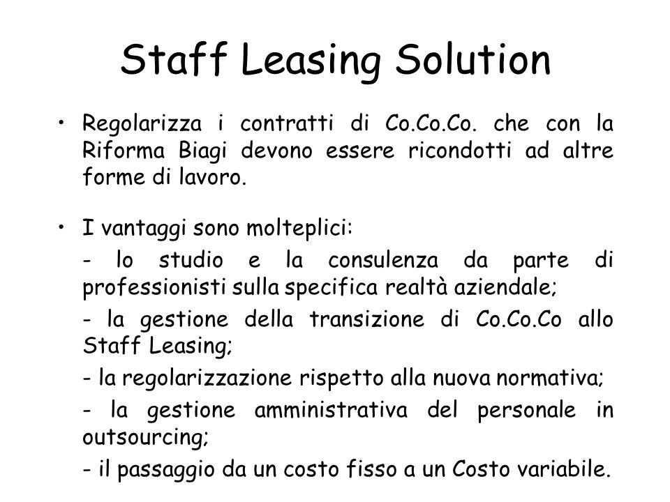 Staff Leasing Solution