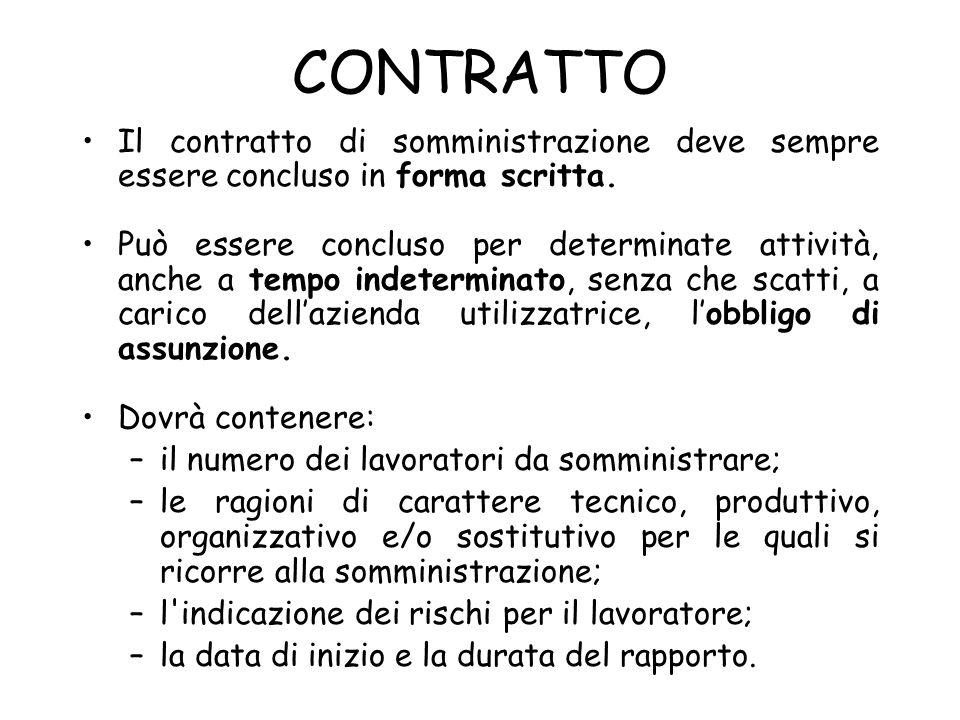 CONTRATTO Il contratto di somministrazione deve sempre essere concluso in forma scritta.