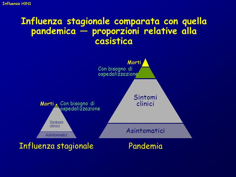 Influenza H1N1 Influenza stagionale comparata con quella pandemica — proporzioni relative alla casistica.