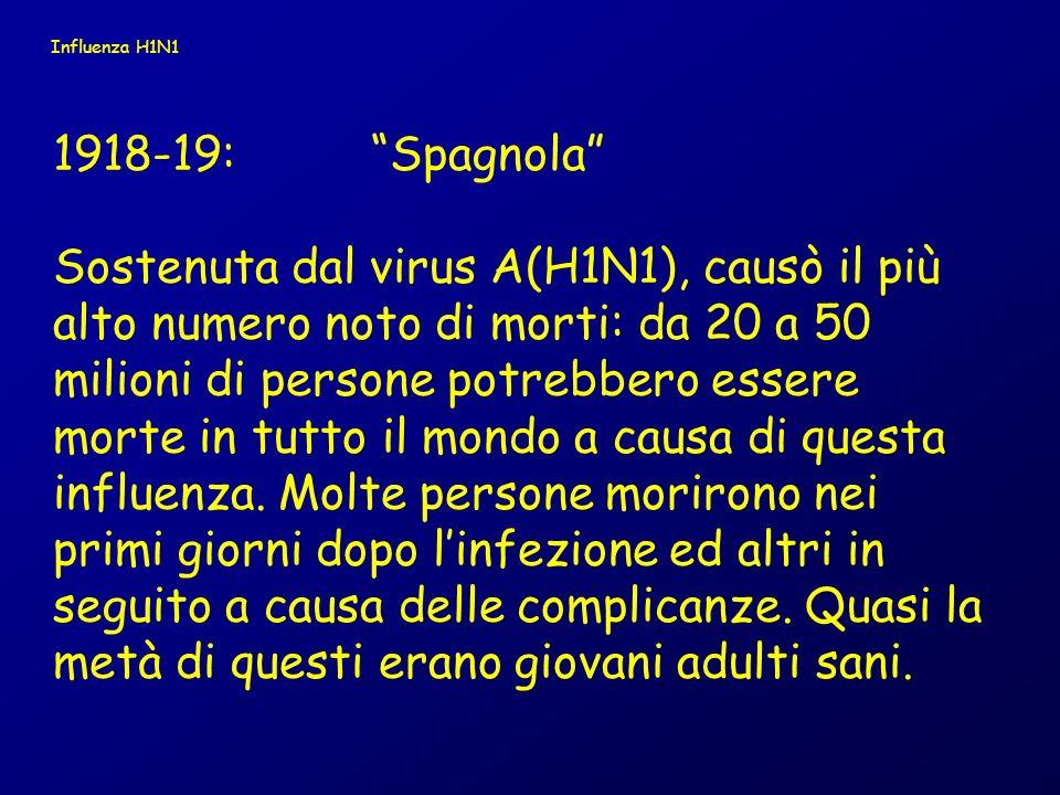 Influenza H1N1 1918-19: Spagnola