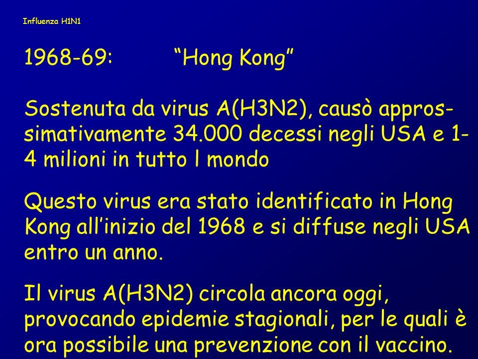 Influenza H1N1 1968-69: Hong Kong Sostenuta da virus A(H3N2), causò appros-simativamente 34.000 decessi negli USA e 1-4 milioni in tutto l mondo.
