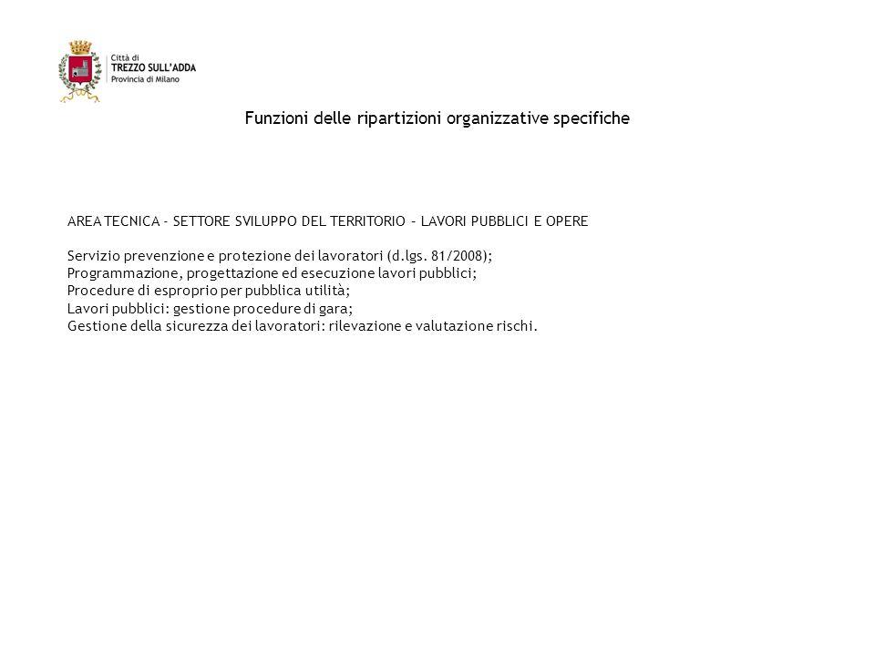 Funzioni delle ripartizioni organizzative specifiche