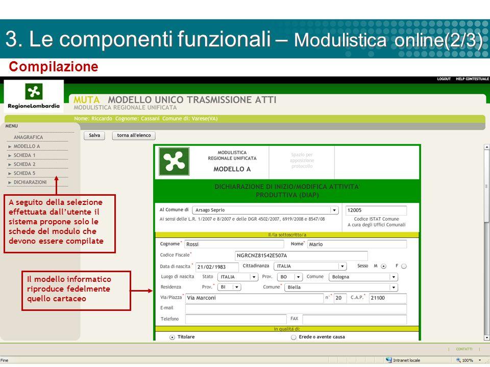 3. Le componenti funzionali – Modulistica online(2/3)