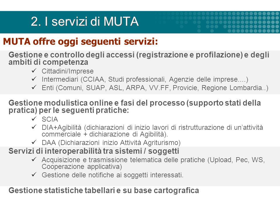 2. I servizi di MUTA MUTA offre oggi seguenti servizi: