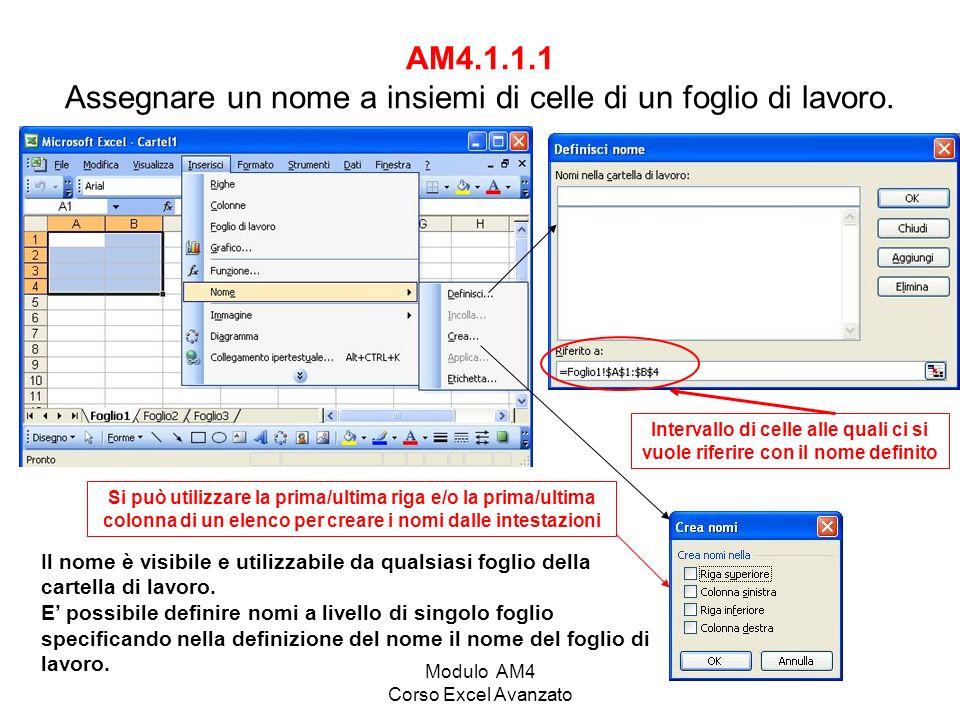 AM4.1.1.1 Assegnare un nome a insiemi di celle di un foglio di lavoro.