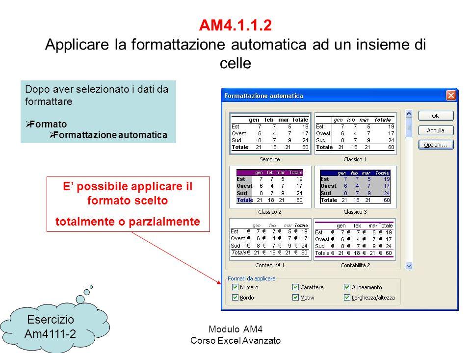 AM4.1.1.2 Applicare la formattazione automatica ad un insieme di celle