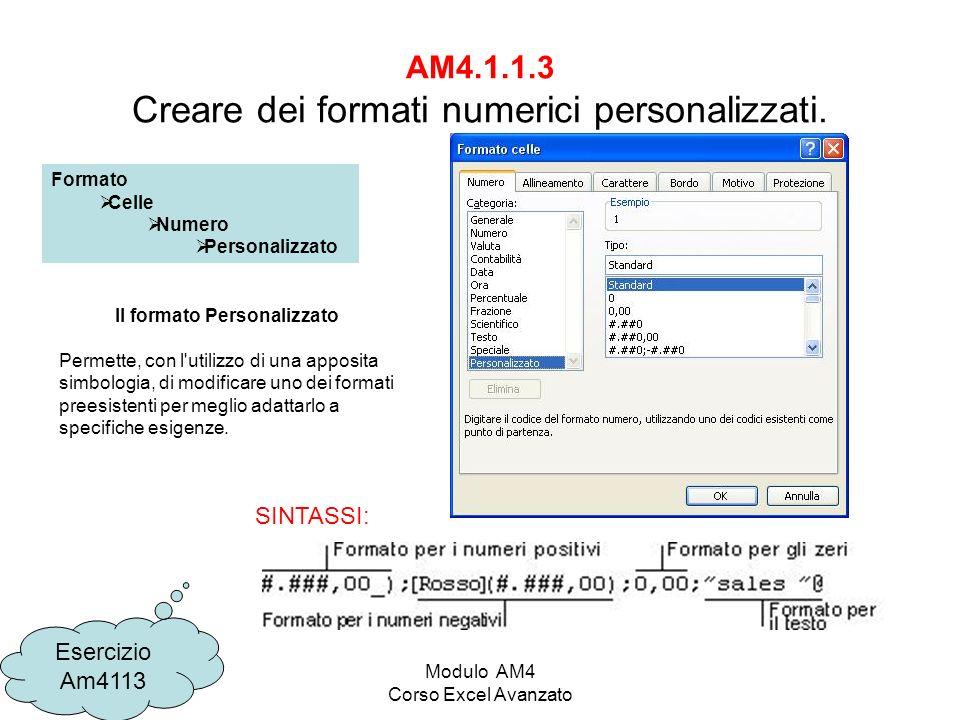 AM4.1.1.3 Creare dei formati numerici personalizzati.